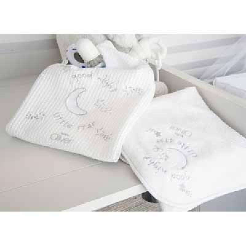 Baby Oliver Κουβέρτα πικέ κούνιας Silver Moon 609 baby oliver - 609-6720 home   away   λευκά είδη βρεφικά   σέτ προίκας μωρού