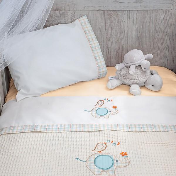 Σεντόνια Κούνιας (Σετ) Baby Oliver Elephant Des 140 home   away   λευκά είδη   λευκά είδη βρεφικά   σεντόνια βρεφικά