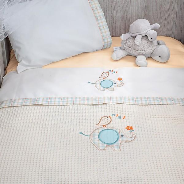 Κουβέρτα Πικέ Κούνιας Baby Oliver Elephant Des 140 home   away   λευκά είδη   λευκά είδη βρεφικά   κουβέρτες βρεφικές