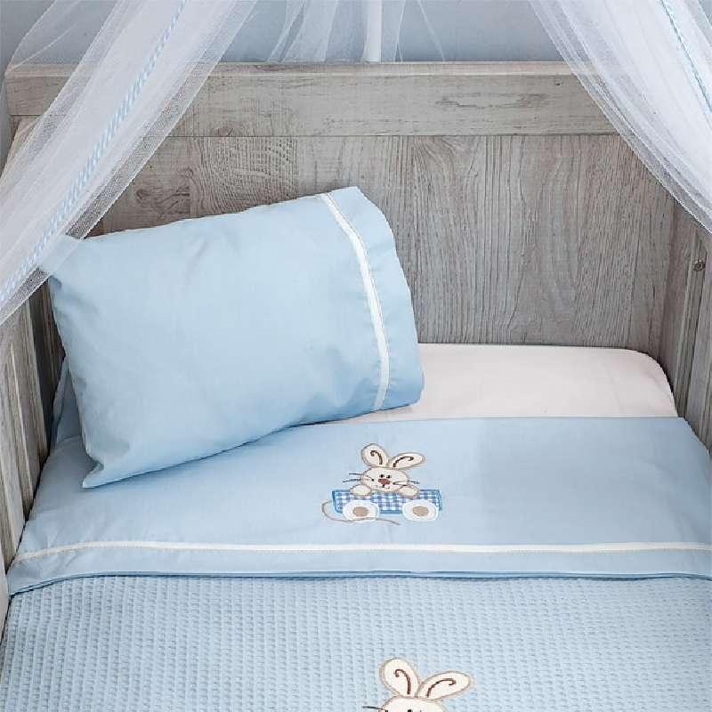 Σεντόνια Κούνιας (Σετ) Baby Oliver Happy Bunny Des 141 home   away   λευκά είδη   λευκά είδη βρεφικά   σεντόνια βρεφικά