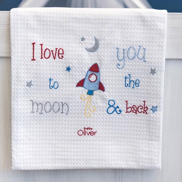 Κουβέρτα Πικέ Κούνιας Baby Oliver The Moon & Back 306