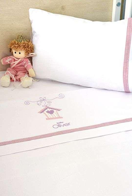 Σετ Σεντόνια Λίκνου 3 τμχ Baby Oliver Lilac Dream Birds Design 300 Baby Oliver home   away   λευκά είδη βρεφικά   βρεφικά σεντόνια