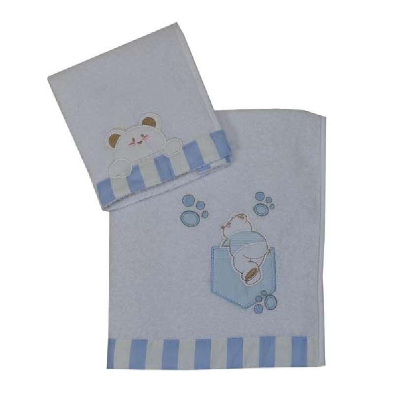 Σετ Πετσέτες Stripes Bear Bebe Stars home   away   λευκά είδη βρεφικά   βρεφικές πετσέτες