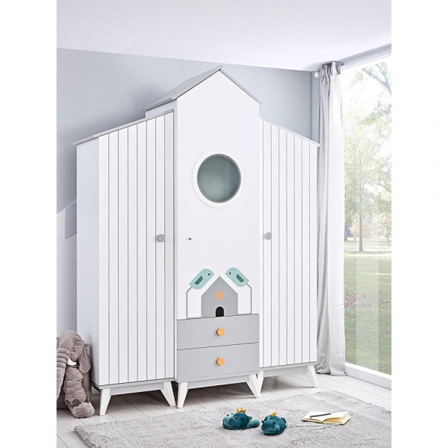 Παιδική ντουλάπα 3φυλλη Bird House 418-25 Bebe Stars