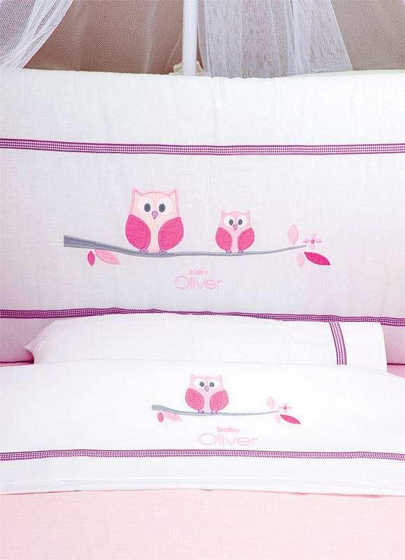 Σετ Σεντόνια 3 τεμ Sweet Owl Pink Design 630 Baby Oliver Baby Oliver home   away   λευκά είδη βρεφικά   βρεφικά σεντόνια
