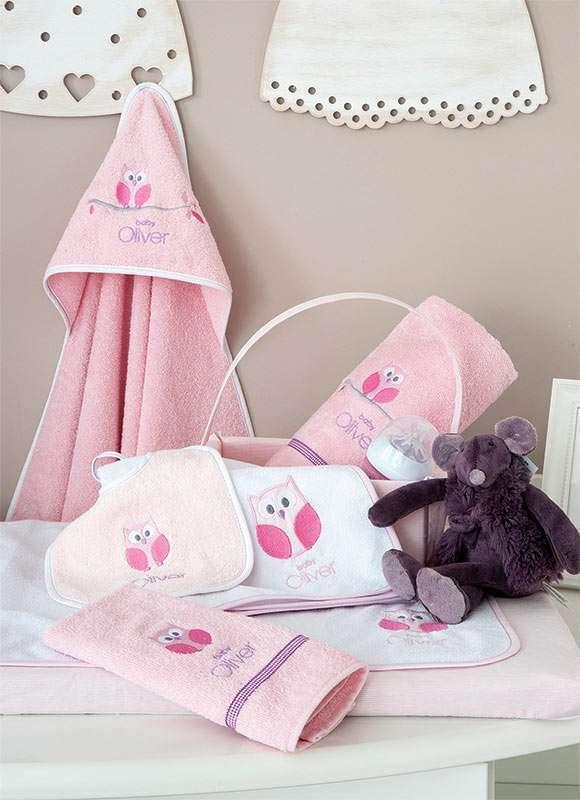 Σαλιάρα Sweet Owl Pink Design 630 Baby Oliver Baby Oliver home   away   λευκά είδη βρεφικά   διάφορα αξεσουάρ
