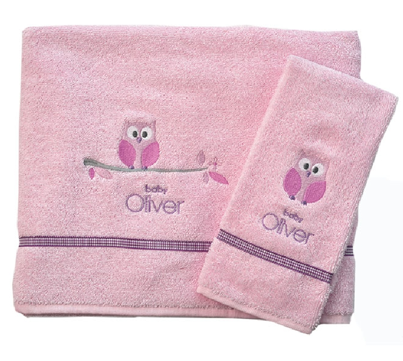 Σετ Πετσέτες Βρεφικές 2 Τεμ Owl Pink Design 630 Baby Oliver home   away   λευκά είδη βρεφικά   βρεφικές πετσέτες