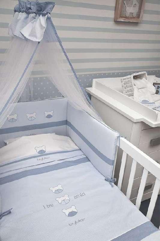 Βρεφικό Σετ Προίκας Κούνιας 3τμχ Design 80 Amici Blue Byblos