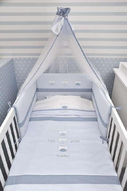 Σετ σεντόνια βρεφικά κούνιας Design 80 Amici Blue Byblos home   away   λευκά είδη   λευκά είδη βρεφικά   σχέδια προίκας