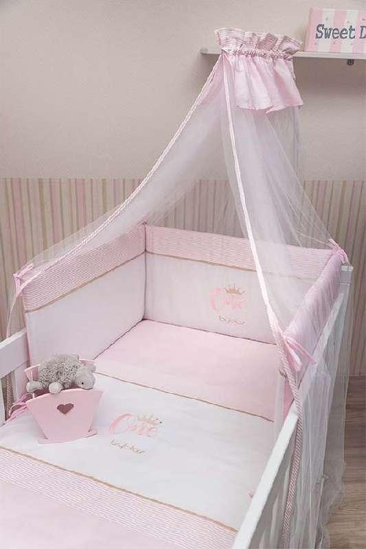 Βρεφικό Σετ Προίκας Κούνιας 3τμχ Design 83 One Pink Byblos