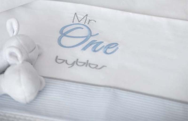 Σετ σεντόνια βρεφικά κούνιας Design 82 Mr One Blue Byblos home   away   λευκά είδη βρεφικά   βρεφικά σεντόνια