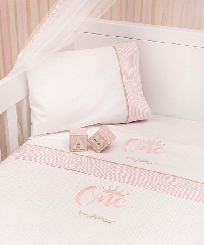 Σετ σεντόνια βρεφικά κούνιας Design 83 One Pink Byblos home   away   λευκά είδη βρεφικά   βρεφικά σεντόνια