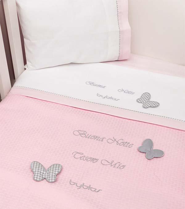 Σετ σεντόνια βρεφικά κούνιας Design 84 Butterfly Byblos home   away   λευκά είδη βρεφικά   βρεφικά σεντόνια
