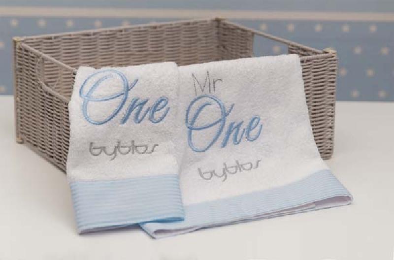 Σετ πετσετών 2τεμ Design 82 Mr One Blue Byblos home   away   λευκά είδη βρεφικά   βρεφικές πετσέτες