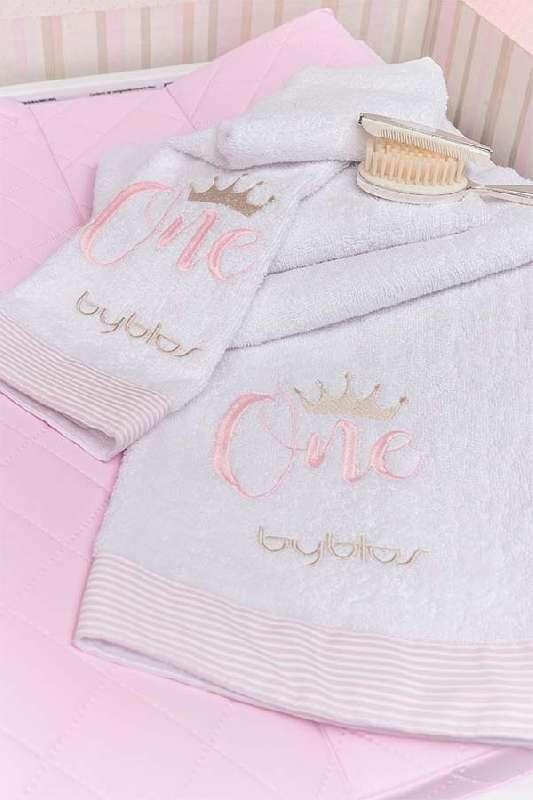 Σετ πετσετών 2τεμ Design 83 One Pink Byblos home   away   λευκά είδη βρεφικά   βρεφικές πετσέτες