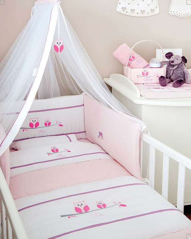 Baby Oliver Σετ Κούνιας 3 τεμ. Owl Pink Design 630 Baby Oliver home   away   λευκά είδη βρεφικά   σέτ προίκας μωρού