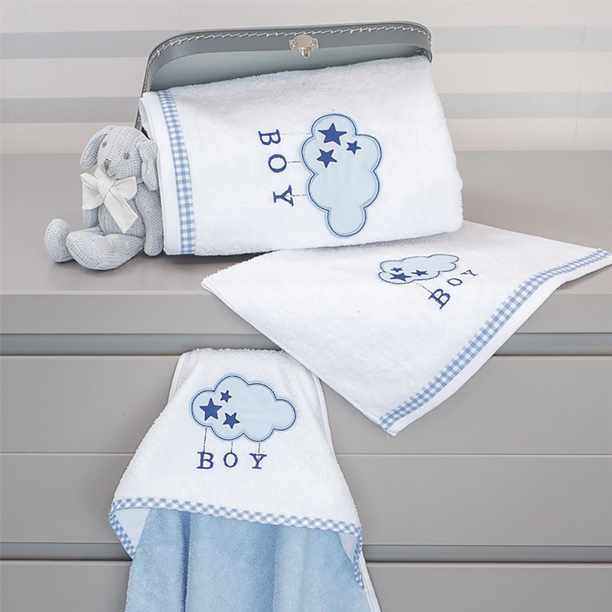 Πετσέτες Μπάνιου (Σετ 2τμχ) Baby Oliver Blue Cloud Des 143 home   away   λευκά είδη   λευκά είδη βρεφικά   πετσέτες βρεφικές