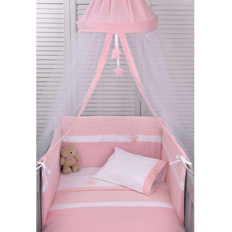 Baby Oliver Σετ Προίκας Κούνιας Βρεφικό 2τμχ Muslin Pink Design 372 46-6700/372