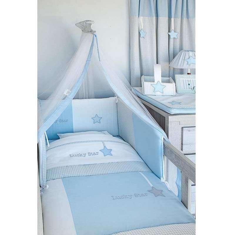 Baby Oliver Σετ Προίκας Κούνιας Βρεφικό 3τμχ Lucky Star Blue Design 309 46-6700/309