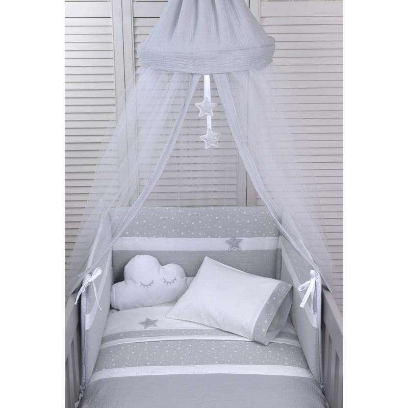 Baby Oliver Βρεφική Κουνουπιέρα Στρογγυλή Muslin Grey Design 370 46-6703/370