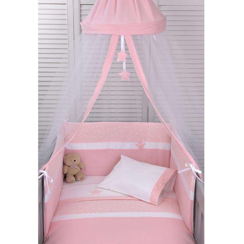 Baby Oliver Βρεφική Κουνουπιέρα Στρογγυλή Muslin Pink Design 372 46-6703/372