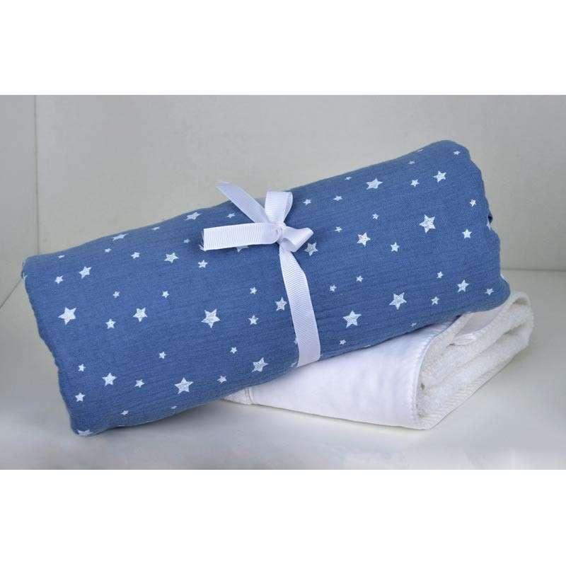 Baby Oliver Βρεφική Πάνα Αγκαλιάς 80X80 Μουσελίνα Muslin Blue Design 374 46-6748/374