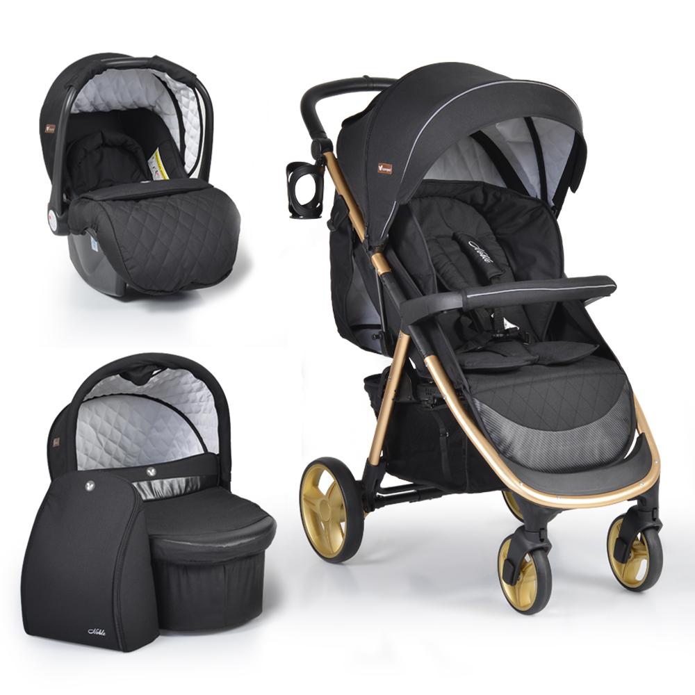 Πολυκαρότσι Noble Black 3 in 1 με κάθισμα αυτοκινήτου και πορτ μπεμπέ Cangaroo