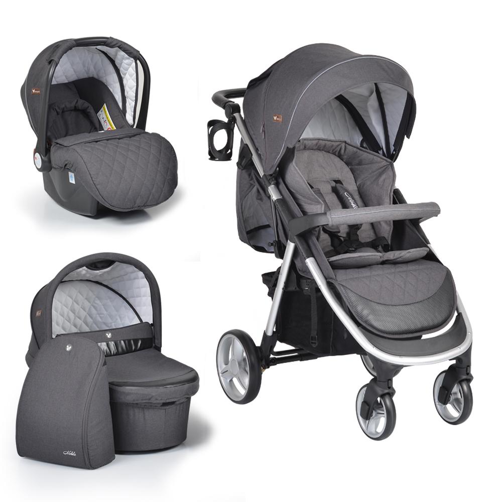 Πολυκαρότσι Noble Dark Grey 3 in 1 με κάθισμα αυτοκινήτου και πορτ μπεμπέ Cangaroo