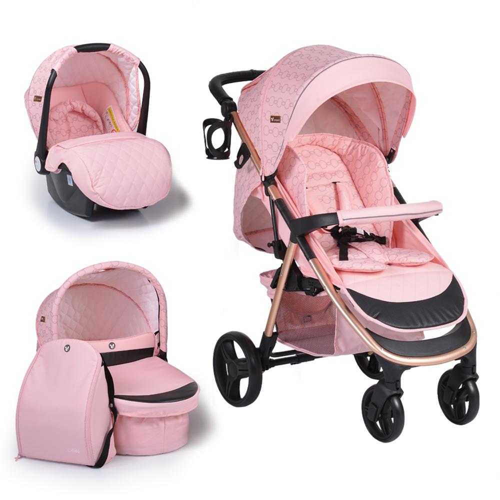 Πολυκαρότσι Noble Pink 3 in 1 με κάθισμα αυτοκινήτου και πορτ μπεμπέ Cangaroo