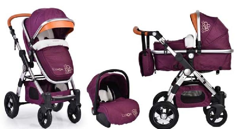Πολυκαρότσι Cangaroo Luxor 3 in 1 Purple βόλτα   ασφάλεια   μετακινηση με καροτσι   σύστημα μεταφοράς