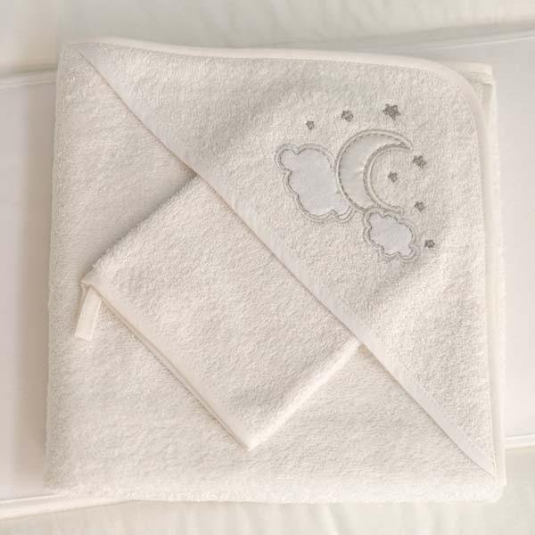 Μπουρνούζι τρίγωνο και γάντι Luna Chic Funna Baby home   away   λευκά είδη βρεφικά   μπουρνούζια