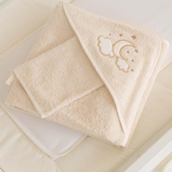 Μπουρνούζι τρίγωνο και γάντι Luna Elegant Funna Baby home   away   λευκά είδη   λευκά είδη βρεφικά   μπουρνούζια βρεφικά