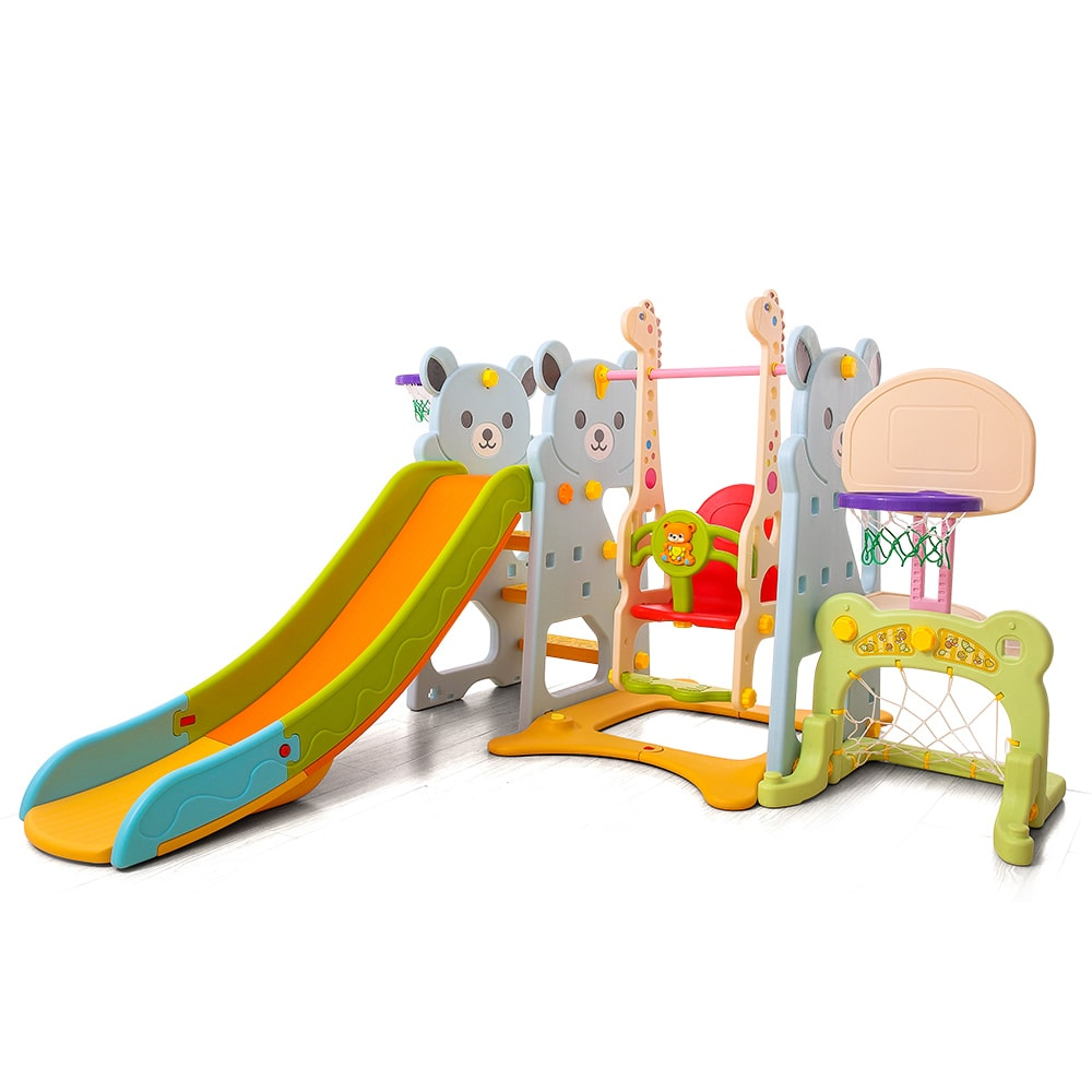 Moni Τσουλήθρα Slide με κούνια και μπάσκετ hoop Bear 18004