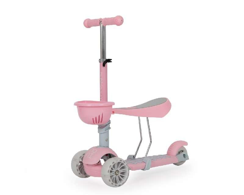 Παιδικό Πατίνι Scooter Bubblegum με Κάθισμα Καλαθάκι και Φωτιζόμενους Τροχούς Pink Moni