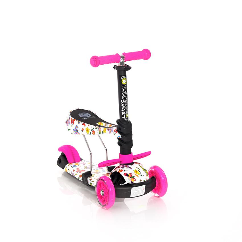 Πατίνι Smart Scooter με κάθισμα Pink Butterfly Lorelli