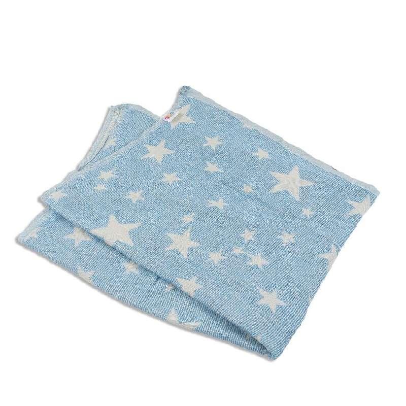 Πλεκτή κουβέρτα ζακάρ-μπλε με αστέρια Abo