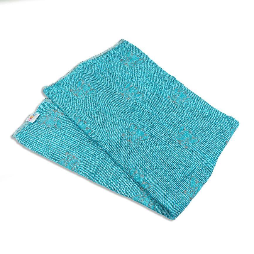 Πλεκτή κουβέρτα ζακάρ-μπλε με ελεφαντάκια Abo