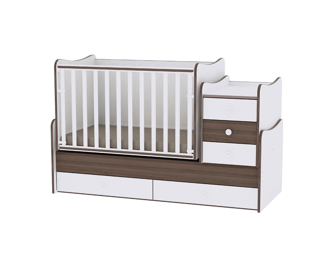 Πολυμορφικό Μετατρεπόμενο Παιδικό Κρεβάτι Maxi Plus White/Walnut Lorelli