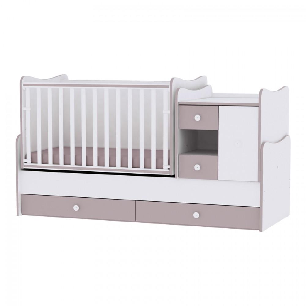 Πολυμορφικό Μετατρεπόμενο Προεφηβικό Κρεβάτι Mini Max Lorelli New White Cappuchino
