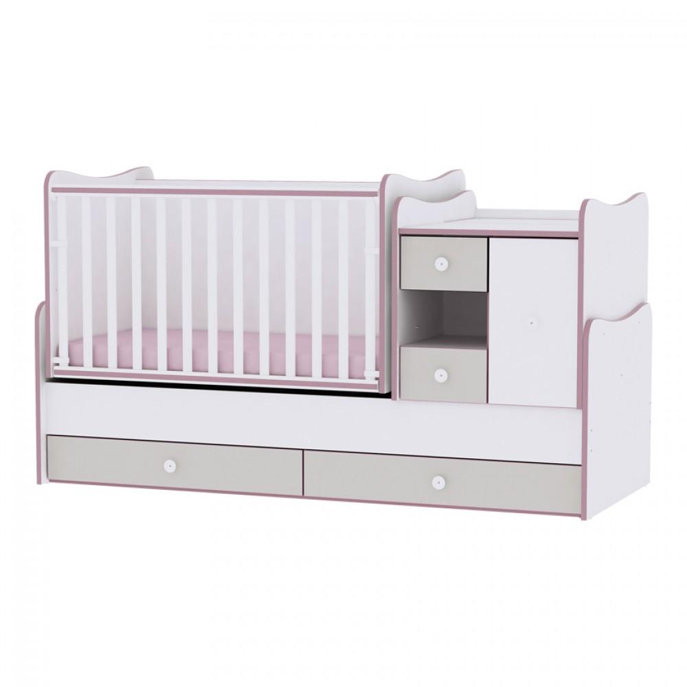 Πολυμορφικό Μετατρεπόμενο Προεφηβικό Κρεβάτι Mini Max Lorelli New White Pink Crossline