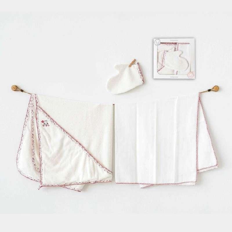 Σετ κάπα-μπουρνούζι με γάντι και πάνα χασέ Pink flower Abo