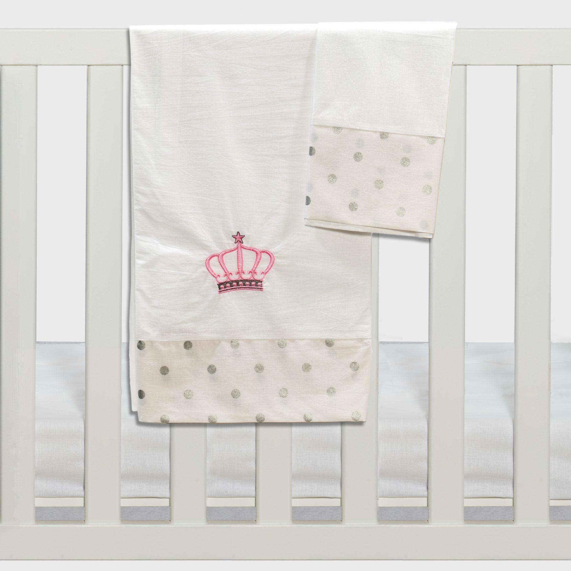 Σετ σεντόνια καλαθούνας-λίκνου3τμχ queens crown ροζ Abo
