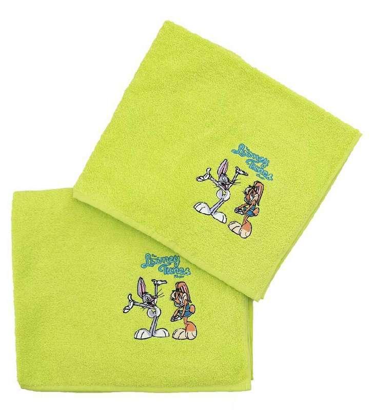 Viopros Παιδικές Πετσέτες Σετ 2 Τεμ 50X80, 70X130 Looney Tunes Λαχανί